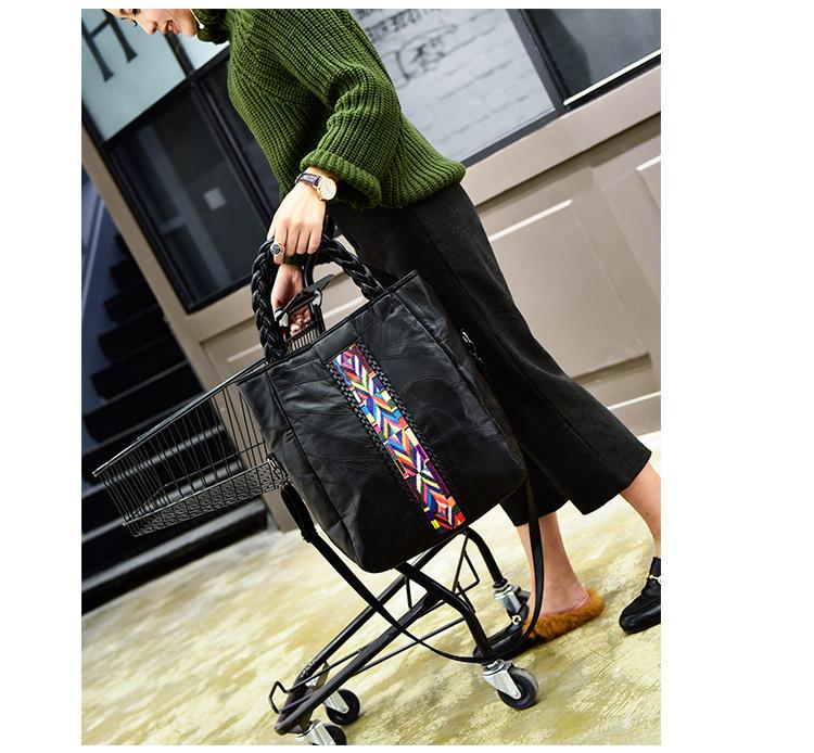 Large Size European And American Fashion Sching Sheepskin Hit Color Shoulder Messenger Bag