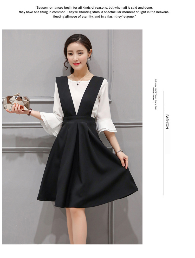 9e6e3dd99df61 Spring and autumn new Korean version of the strap dress chiffon loose  women's long skirt fashion two-piece