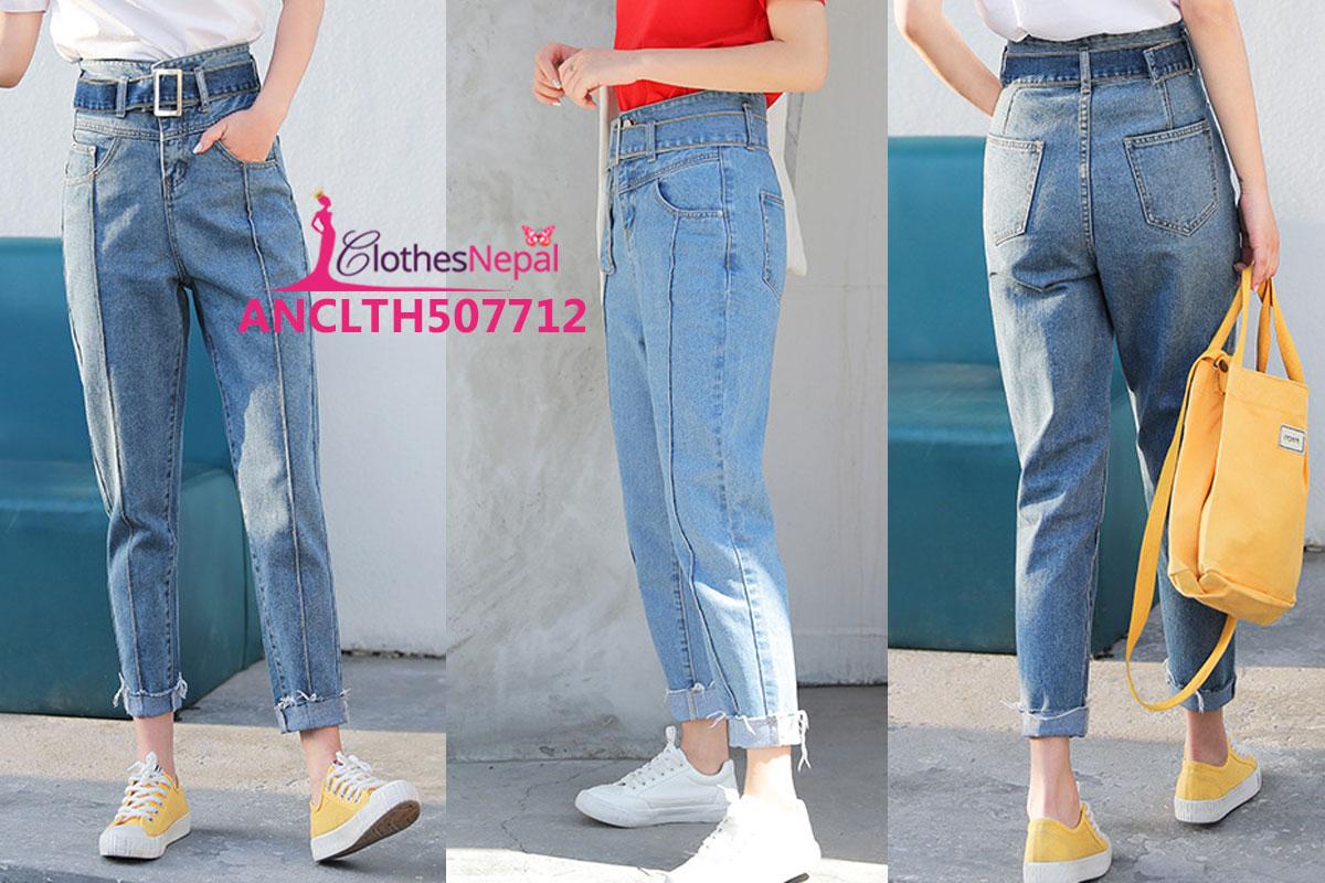 710f6dd9382 Buy Korean version of women loose thin high waist raw nine pants in ...