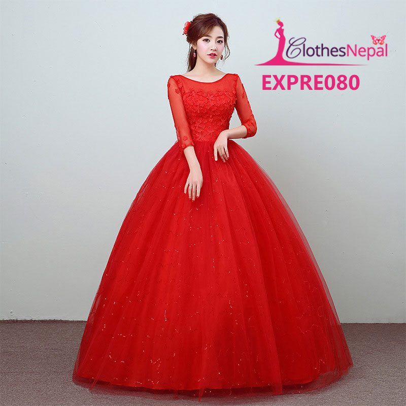 Spring and summer new red lace bride wedding dress