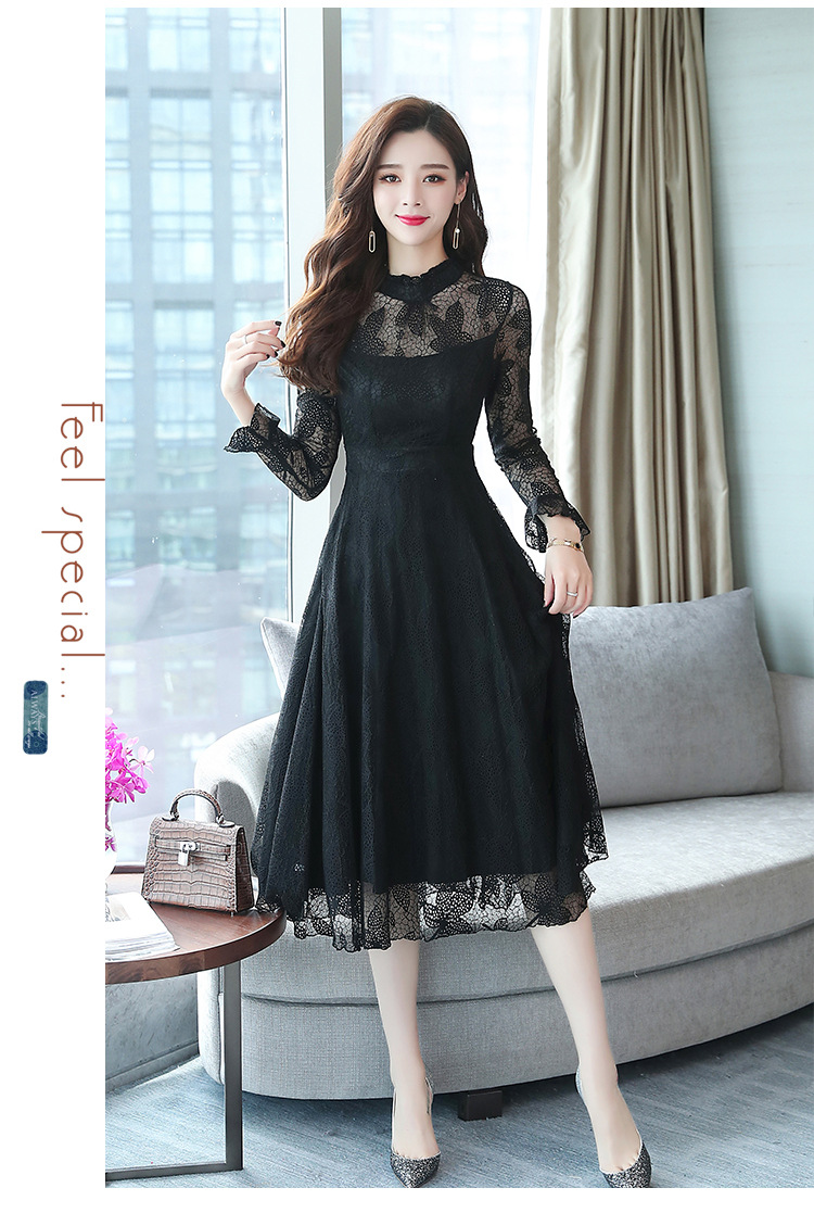Buy Autumn New Korean Long Sleeved Stand Collar Long Lace Dress In