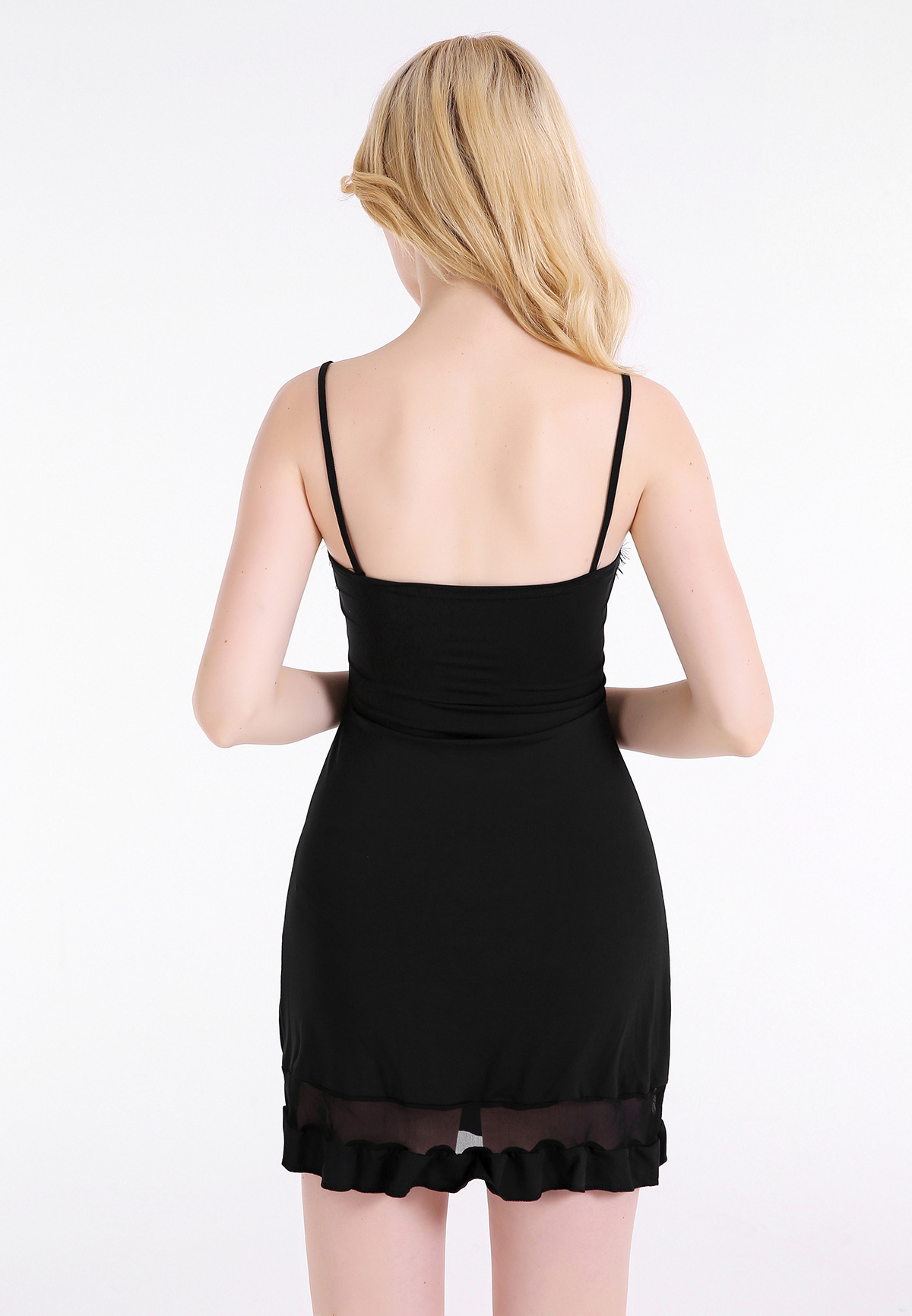 ff4ca0e5753 Europe and America sexy black lace strap dress mesh stitching nightclub  dress